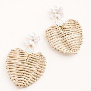 Chico's Neutral Raffia Heart & Peony Earrings NWT